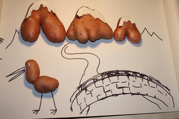Mural hecho con patatas