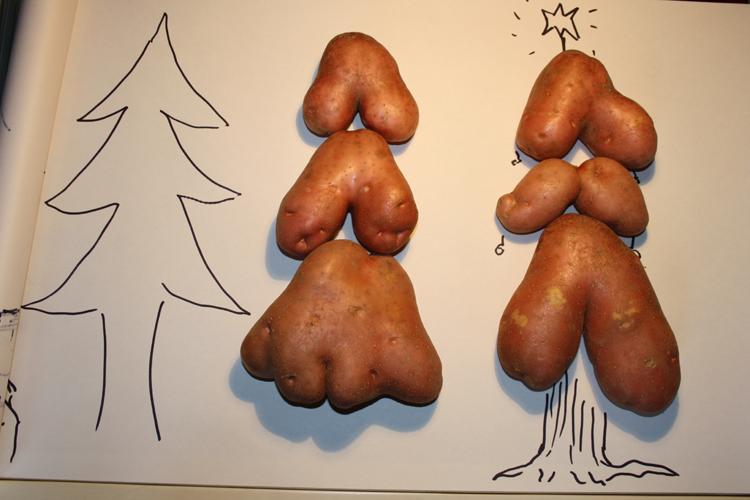 Postal de navidad con patatas